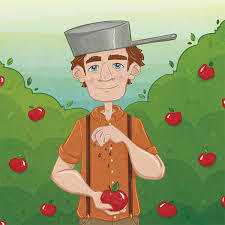 An illustrated image of Johnny Appleseed juggling apples and wearing a pot as a helmet.