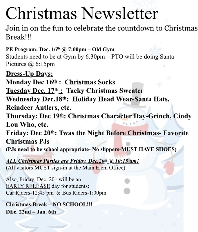 Elementary Christmas Newsletter